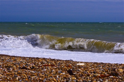 Shoreham beach on a windy summer day