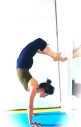 Charlie Speller in yoga scorpian pose